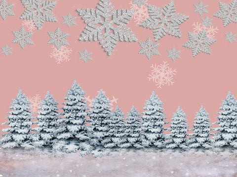 Winter Snow Pine Trees Pink Backdrop