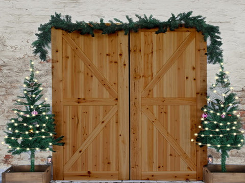 Christmas Wood Door Decorations Damaged Wall Backdrop