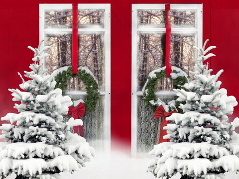 Winter Snowy Pinetrees Red Window View Backdrop