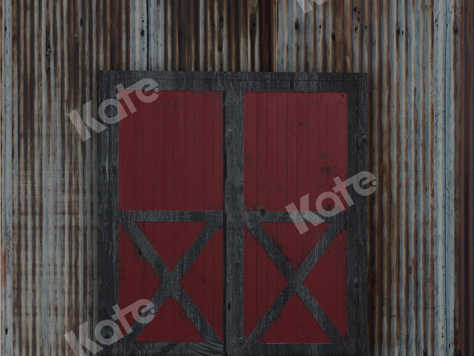 Vintage Rusty Wall with Red Door Backdrop