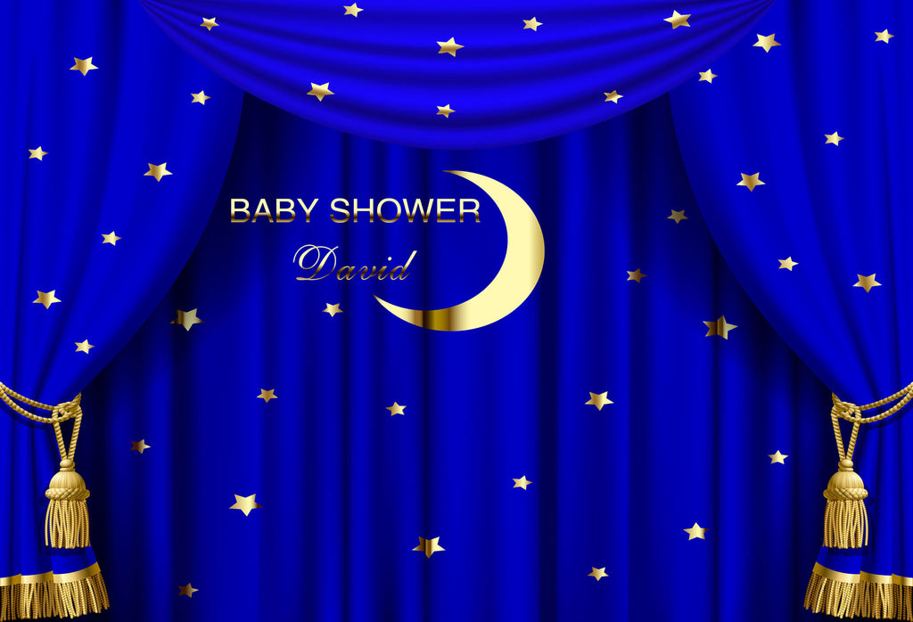 Buy Discount Kate Baby Shower Moon Blue Curtain Backdrop Custom For