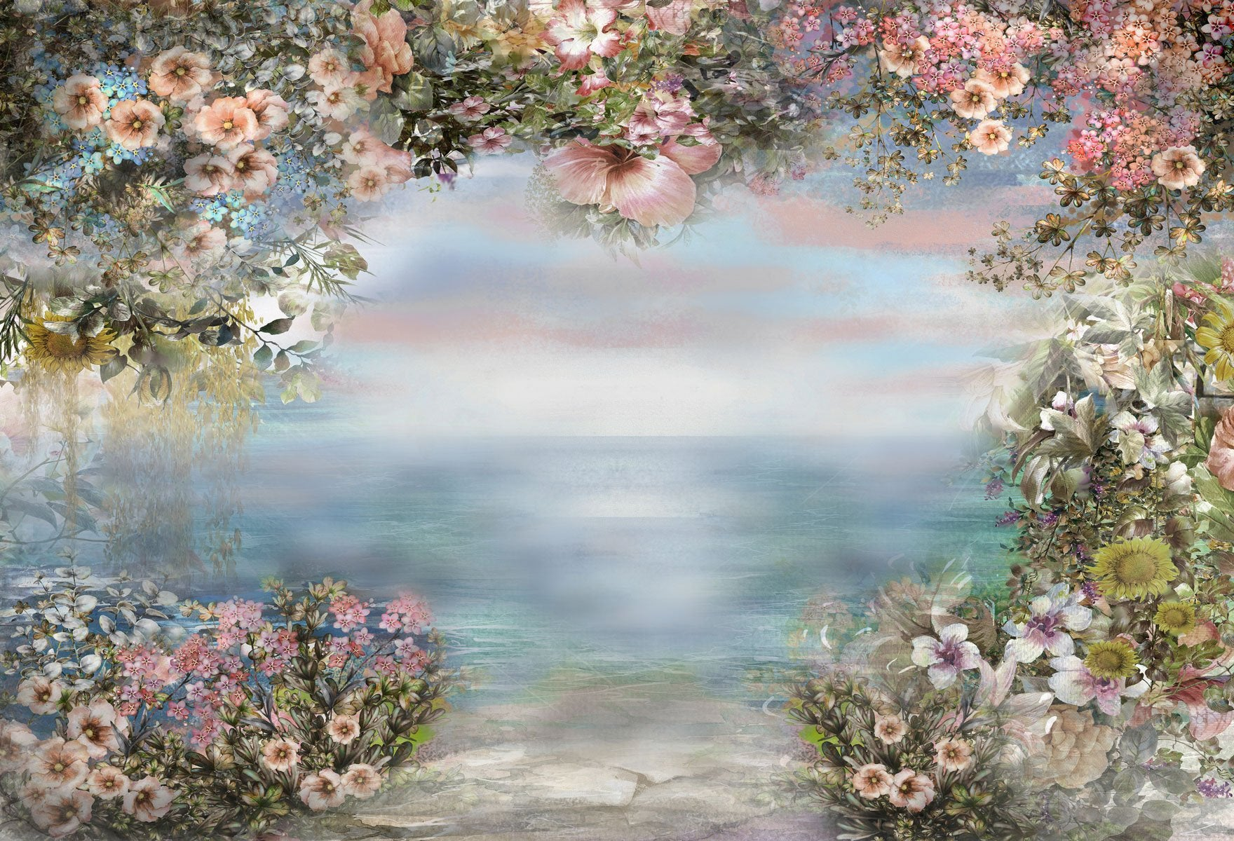 Load image into Gallery viewer, Kate Valentine's Day Vintage Flowers Bokeh Smog Backdrop for Photography Designed by JFCC