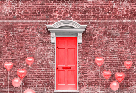 Kate Valentine's Day Vintage Red Brown Brick Wall Balloon Door Backdrop for Photography Designed by JFCC