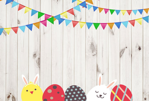 Kate Easter Wood Wall with Eggs and Decorations Backdrop for Photography Designed by JFCC