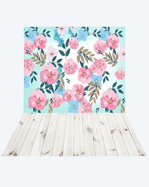 Kate Spring Flowers Backdrop + Wood Floor Mat for Photography