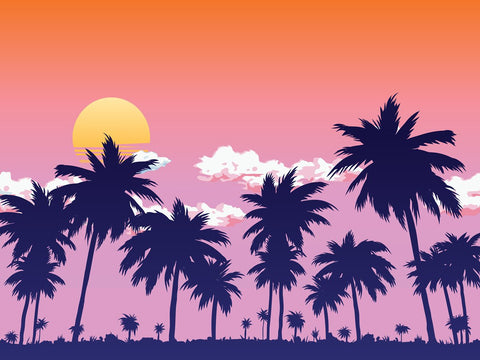 Kate Summer Sunset by the Sea Coconut Tree Backdrop for Photography Designed by JFCC