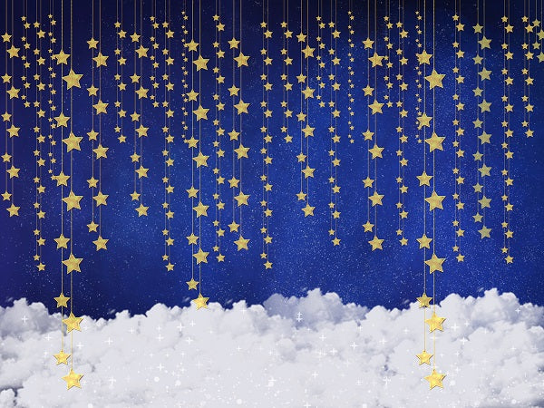 Load image into Gallery viewer, Kate Children Baby shower Bule Wall with Stars and Clouds Backdrop for Photography Designed by JFCC