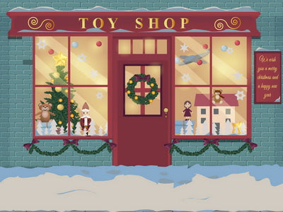 Winter Christmas Window Toy Shop Children Backdrop