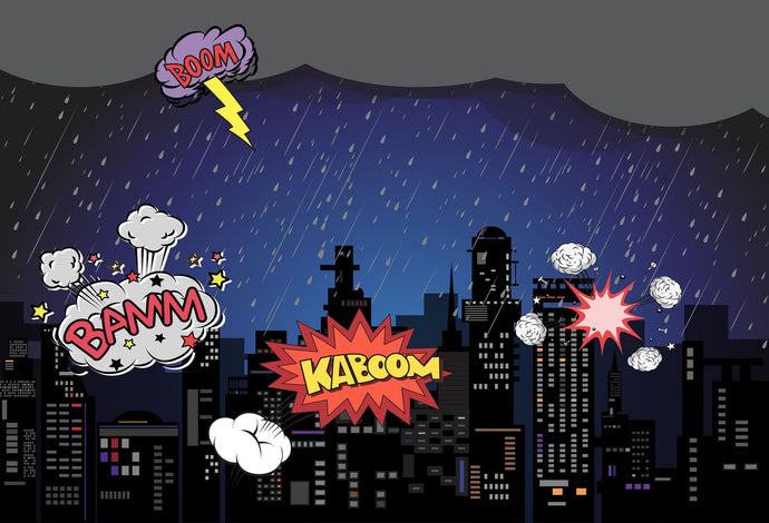 Kate Boom super hero city night Sky backdrop for children - Kate backdrops UK