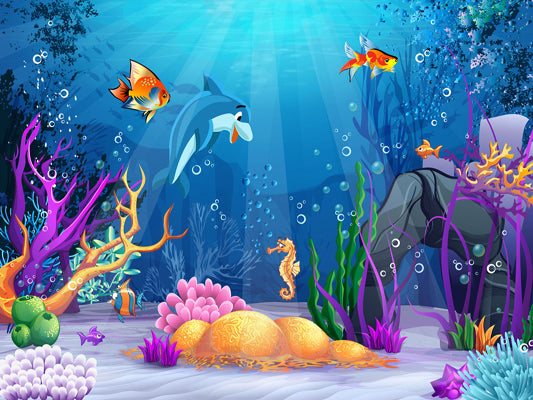 Kate Undersea World Baby Shark Backdrop for Photography