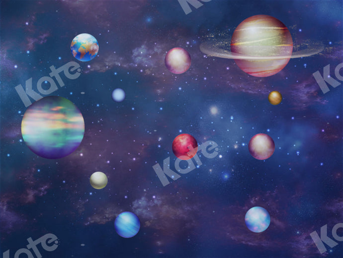 Children\Newborn Blue Universe Planets Baby Backdrop