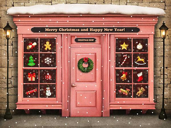 Katebackdrop¡êoKate Hayyp New Year Backdrop Christmas Shop Children Background