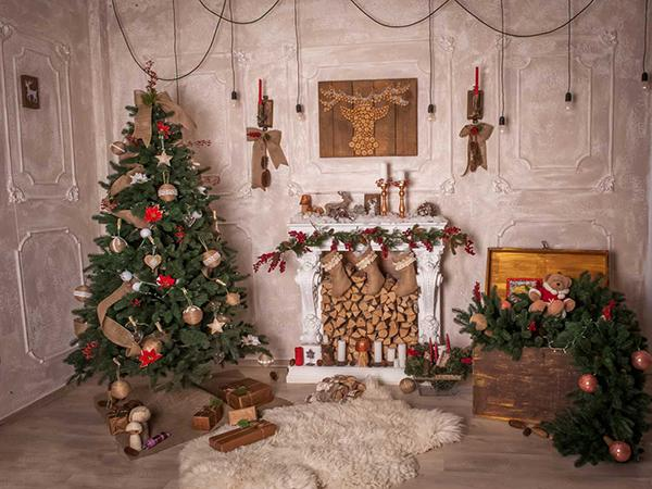 Kate Christmas Tree Fireplace Indoor Background for Family Photography - Kate backdrops UK