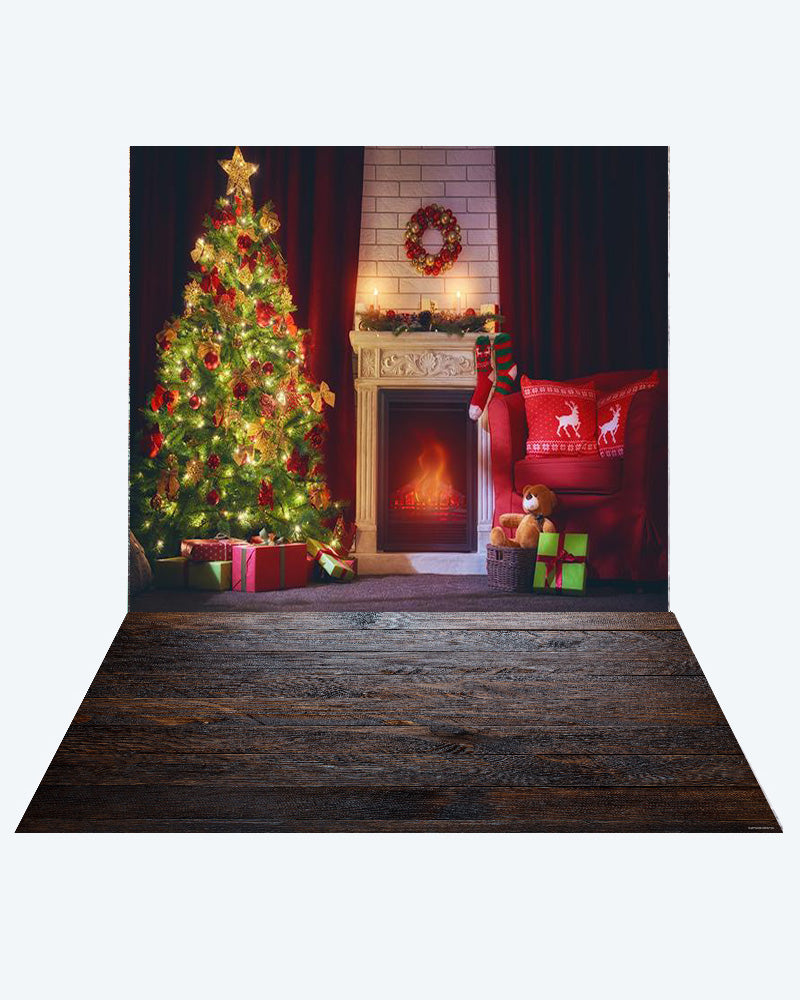 Kate Christmas Fireplace Photography +Dark wood floor mat