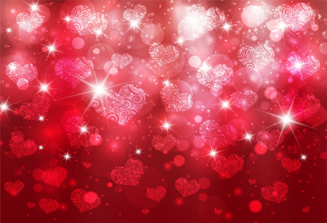 Kate Red Bokeh Valentine's Day Love heart backdrop