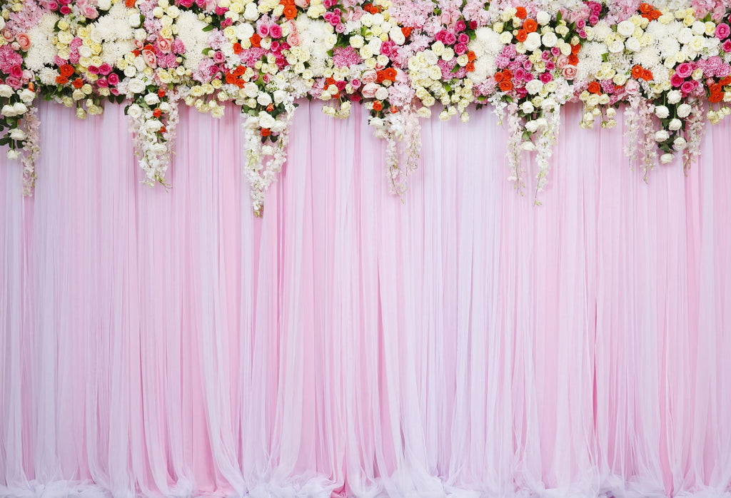 Kate Pink Wedding  Background White Flower Curtain Backdrop for Party Photography - Kate backdrop UK