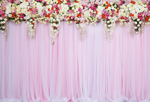 Kate Pink Wedding  Background White Flower Curtain Backdrop for Party Photography