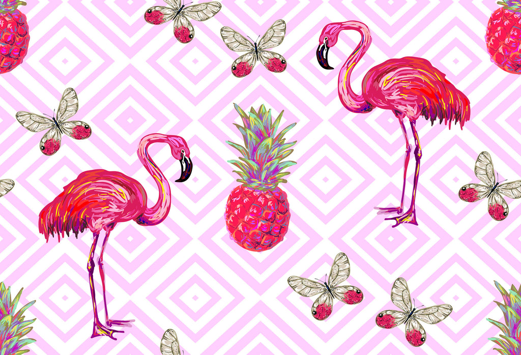 Kate Butterfly Flamingos Pineapples Pink Theme Backdrop for Photography - Kate backdrops UK