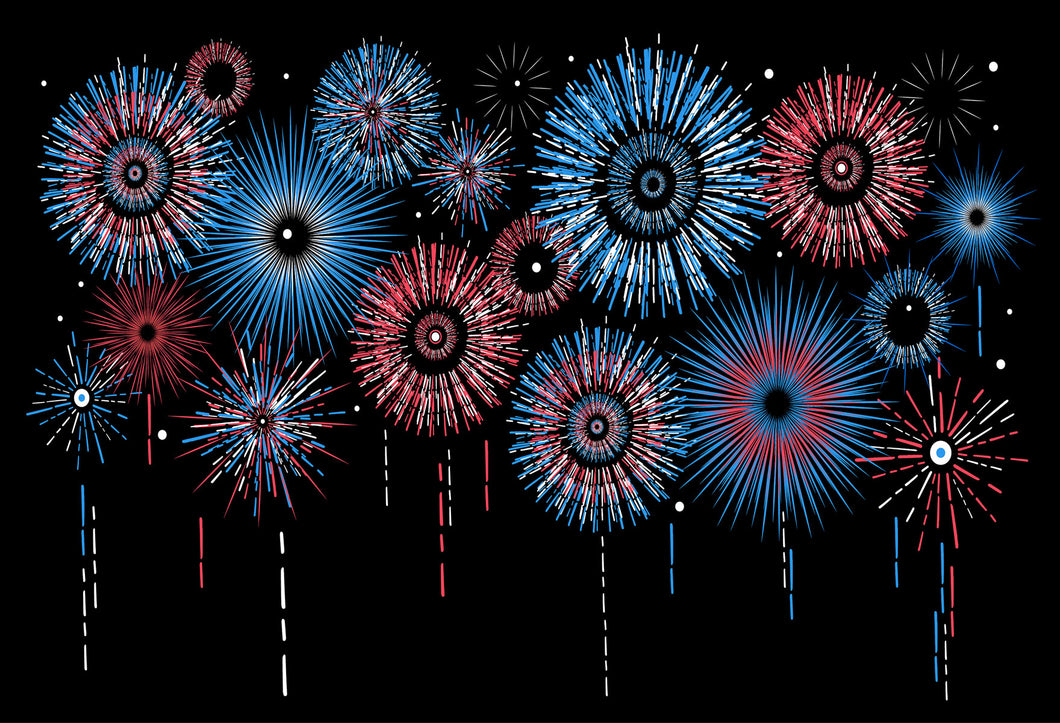 Kate Red Blue Fireworks Black Background Backdrops for Photography