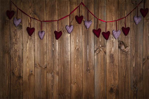 Kate Dark Wood Wall with Hearts Valentine's Day Backdrop for Photography