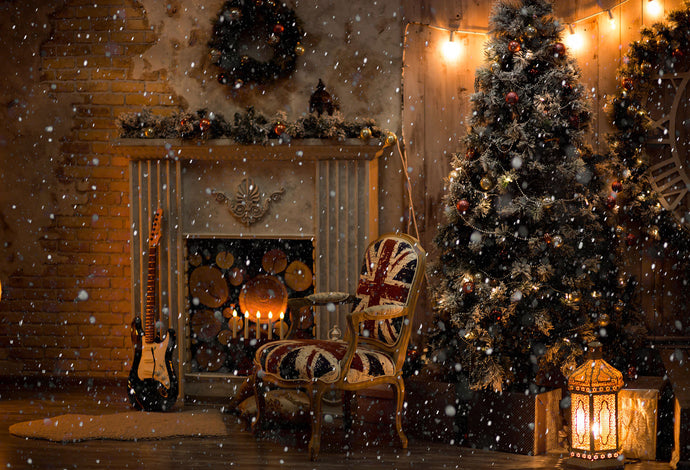 Kate Christmas Snowy Fireplace Backdrops for Photography