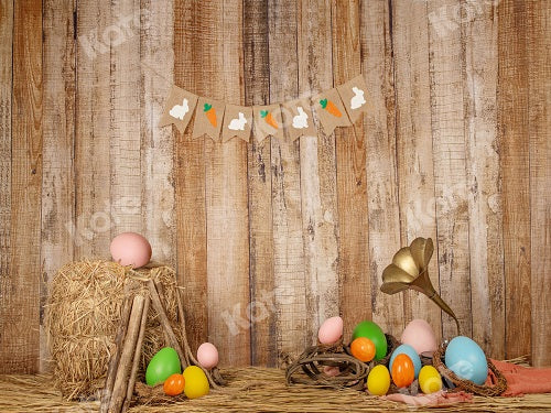 Easter Eggs Wood Wall Backdrop