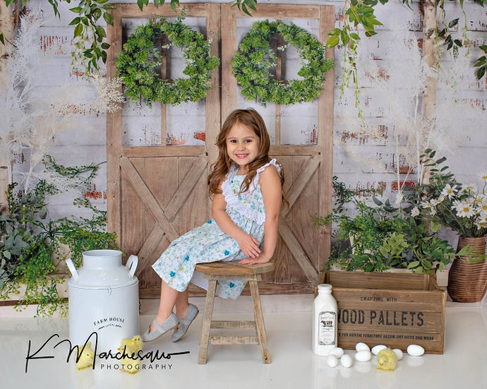 Kate Spring/Mother's day  Green Plants Barn Door Backdrop Designed by Jia Chan Photography