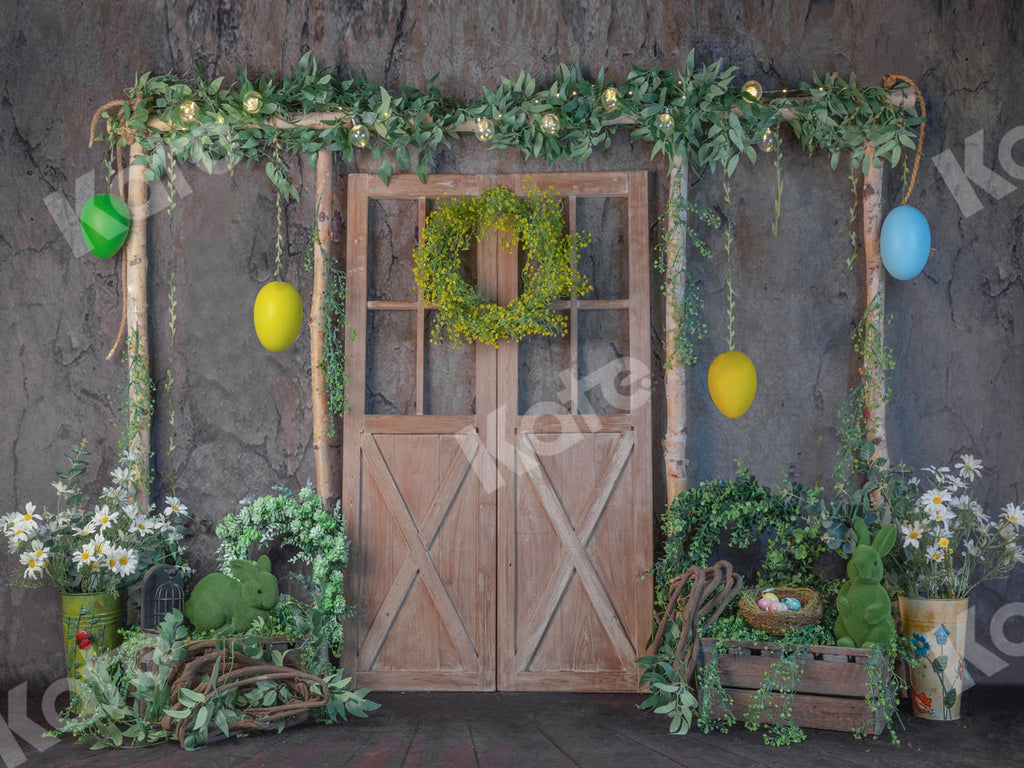 Easter Grass Barn Door Backdrop