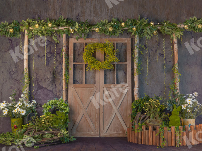 Spring Barn Door with Lignts Backdrop