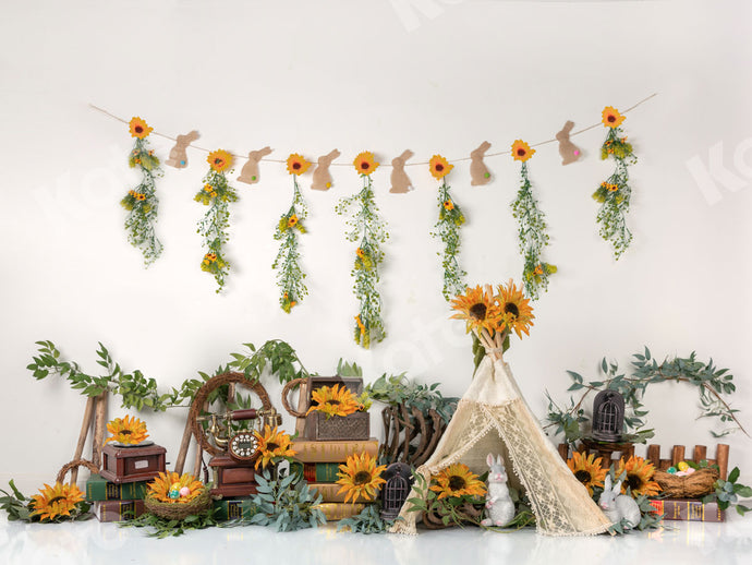 Summer Sunflowers with Tent Backdrop