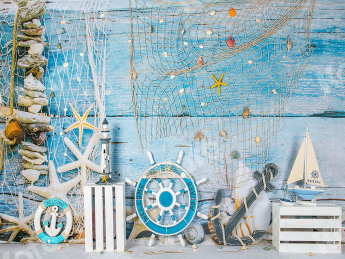 Kate Blue Wood Sailboat Summer Backdrop Designed by Jia Chan Photography