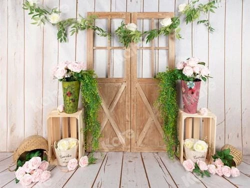 Load image into Gallery viewer, Floral Barn Door Spring/Easter Backdrop
