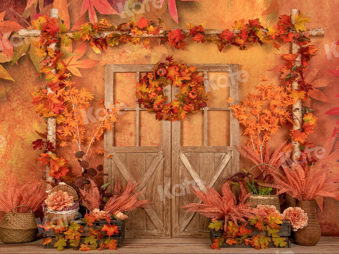 Kate Autumn Maple Leaves Wood Door Backdrop Designed by Jia Chan Photography