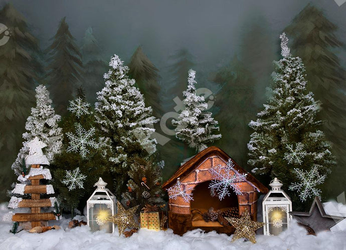 Kate Winter Backdrop Snow Tree with Wooden House for Christmas Designed by Jia Chan Photography