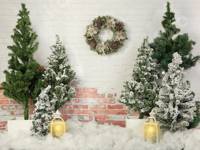 Kate Christmas Tree Backdrop Lights Brick Wall Designed by Emetselch