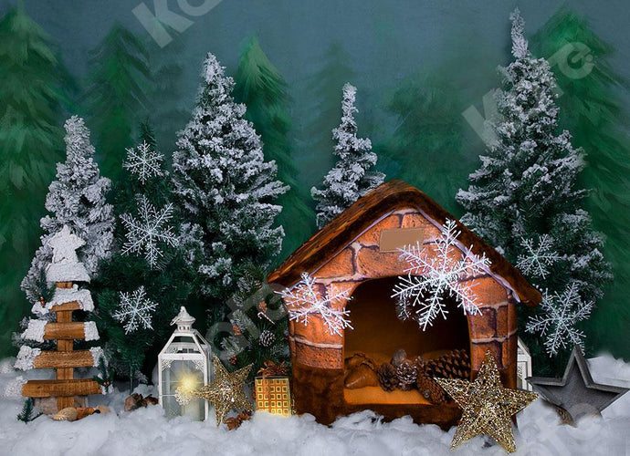Kate Christmas  Trees Backdrop Mini House Forest Designed by Emetselch