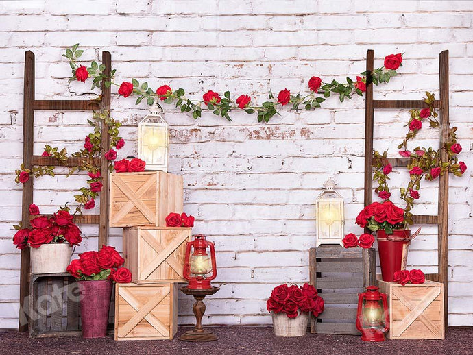 Kate Valentine's Day Roses White Brick Wall Backdrop Designed by Emetselch
