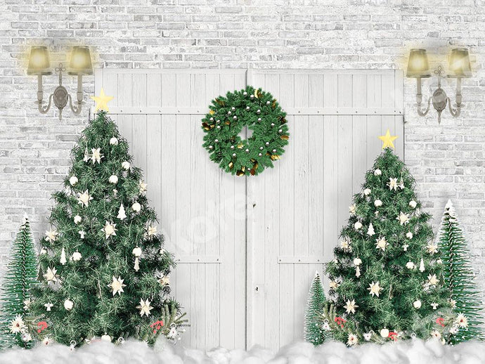 Kate Xmas Backdrop White Door Christmas Trees Designed by Emetselch