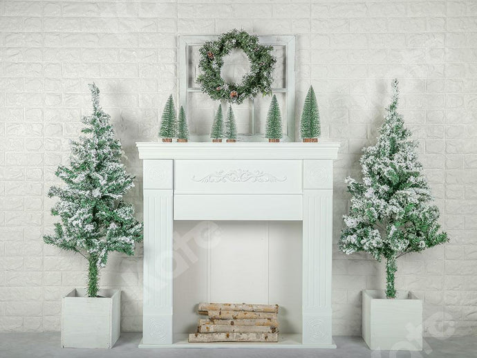 Kate Xmas Backdrop Christmas Trees with Fireplace Designed by Emetselch