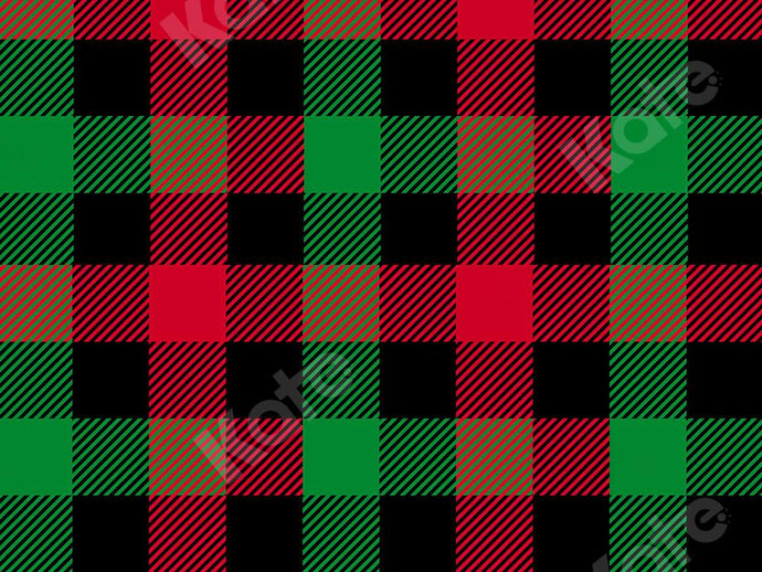 Kate Christmas Backdrop Black Red Green Plaid Designed by Kate Image