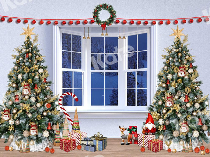 Kate Window Xmas Backdrop Gifts Christmas Trees Designed by Emetselch