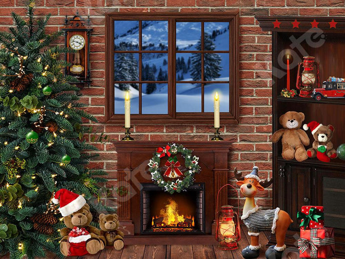 Kate Xmas Backdrop Christmas Room with Fireplace Designed by Emetselch