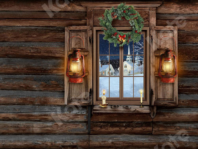 Kate Christmas Backdrop Wooden Window with Lights Designed by Emetselch