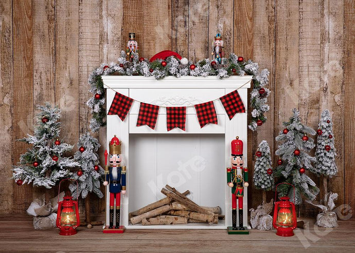 Kate Christmas Fireplace Wood Backdrop Designed by Emetselch