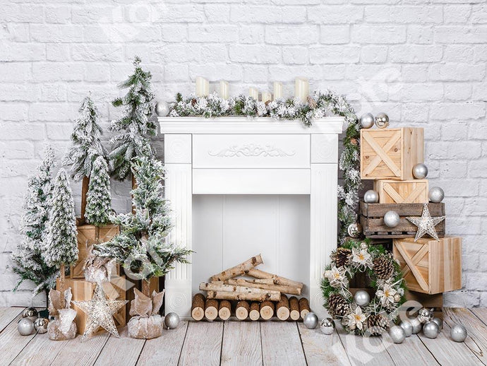 Kate Christmas Brick Fireplace Backdrop Designed by Emetselch