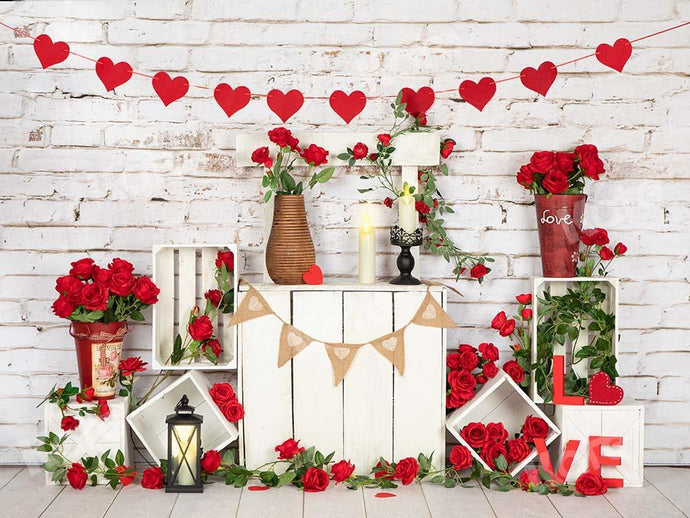 Kate Valentine's Day Roses Stand White Brick Wall Backdrop Designed by Emetselch