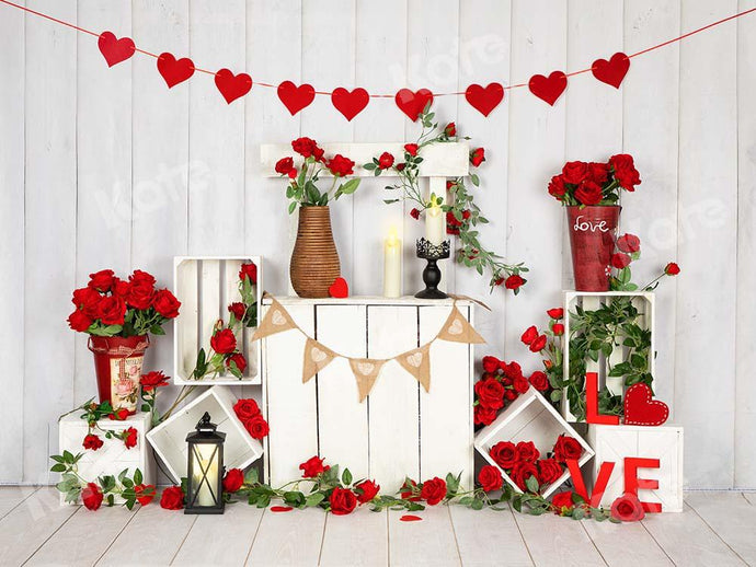 Kate Valentine's Day Roses Stand White Wood Wall Backdrop Designed by Emetselch