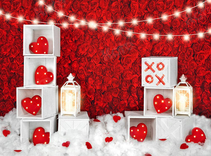 Kate Valentine's Day Roses Wall Xoxo Backdrop Designed by Kate Image