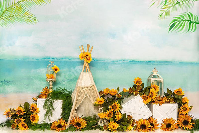 Kate Summer Cake Smash Backdrop Sunflower Tent Sea Holiday Designed by Emetselch