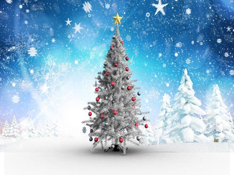 Kate Blue background Snowflake Christmas Tree photo booth Backdrop - Kate backdrops UK